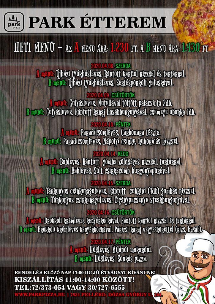 Heti Menü - Park étterem és pizzéria - Pécs - Pellérd